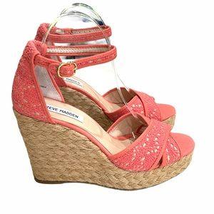 Steve Madden Marrvil Coral Lace Wedge Shoe